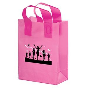 "Breast Cancer Awareness Pink Frosted Soft Loop Plastic Shopper w/Insert (8""x4""x10.5"")- Flexo Ink"