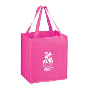 "Breast Cancer Awareness Pink Non-Woven Heavy Duty Grocery Bag w/ Insert (13""x10""x15"") - Screen Print"